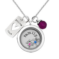 Silver Family Plate Living Locket Boy Girl Dangle Tagged Chain Necklace