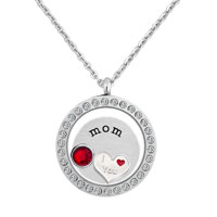 Crystal Living Locket Love Mom Plate Birthstones Silver P Chain Necklace