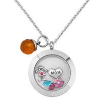 Living Memory Locket Floating Mothers Day Red Crystal Charms Birthstones Necklace