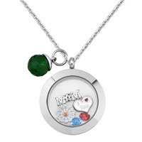 Living Memory Locket Floating Mom Red Crystal Charms Crystal Birthstones Accessory