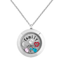 Family Colorful Birthstone Floating Charm Living Locket Pendant Necklace