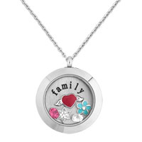 Family Angel Wing Heart Birthstone Floating Charms Living Locket Pendant Necklace