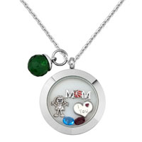 I Love You Mom Daughter Crystal Floating Locket Charms Memory Living Locket Magnetic Necklaces