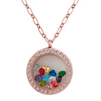 12 Birthstone Crystal Floating Charm Locket Necklace Pendant Golden 30 Mm Medium Glass Circle Magnetic Gifts