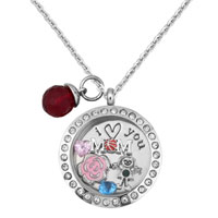 I Love You Flower Clear Birthstone Floating Charms Living Locket Pendant Necklace