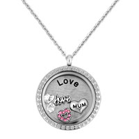 Large Living Locket Mom Charms And Birthstones Family Plate Chain Glass Necklace Pendant