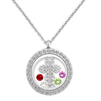 Silver Round Shape Cross Wafer Colorful Birthstones Charms Glass Locket Necklace