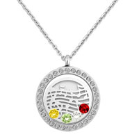 Silver Round Shape Musical Symbol Wafer Colorful Birthstones Charms Locket Necklace