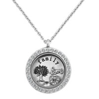 Silver Round Shape White Birthstone Heart Love Living Tree Family Locket Necklace