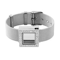 Square With Clear Crystal Cz Living Memory Lockets Silver Tone Bracelet