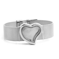New Heart Pure Face Living Memory Lockets Silver Tone Bracelet