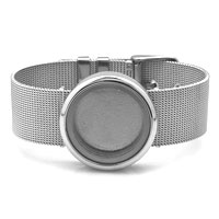 Fashion Round Pure Face Living Memory Lockets Silver Tone Bracelet