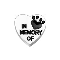 Jewelry Floating Memory Living Locket In Memory Of Dog Paw Heart Charm