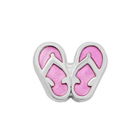 Jewelry Floating Memory Living Locket Silver P Cute Pink Slippers Charm