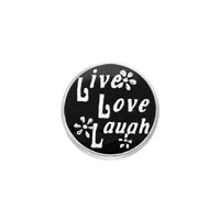 Black Round Live Life Laugh Flower Floating Charms Fit Living Memory Locket