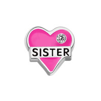 Sister Heart Love Crystal Enamel Floating Charms For Living Memory Locket