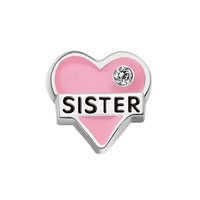 Jewelry Floating Memory Living Locket Pink Heart Sister Crystal Charms