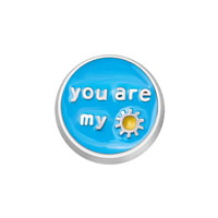 Jewelry Floating Memory Living Locket Blue You Are My Sunshine Round Charm