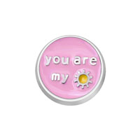 Jewelry Floating Memory Living Locket Pink You Are My Sunshine Round Charm