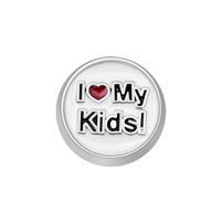 Jewelry Floating Memory Living Locket I Love My Kids Red Heart Charm