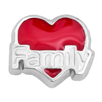 Jewelry Floating Memory Living Locket Charms Silver P Red Heart Love Family