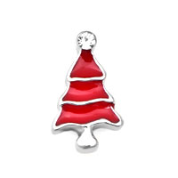 White Birthstone Red Christmas Tree Floating Charms Fit Memorial Living Locket