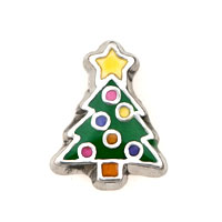 Yellow Five_ Pointed Star Green Christmas Trees Floating Charms Fit Memorial Living Locket