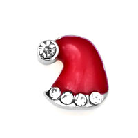 Crystal Red Christmas Hat Floating Charms Fit Memorial Living Locket