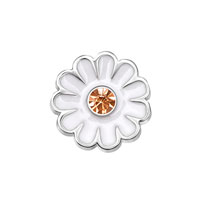 White Daisy Flower Yellow Crystal Floating Charms Fit Living Memory Locket