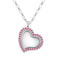 Silver Heart Magnetic Living Locket Necklace Pendant With Pink Crystal For Floating Charms Gift