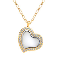 Golden Heart Magnetic Living Locket Necklace Pendant With Pink Crystal For Floating Charms Gift