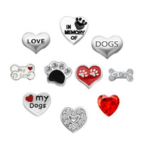 10 Pcs Sale Heart Birthsotne Dogs Pawprint Love Floating Charms Fit Living Locket