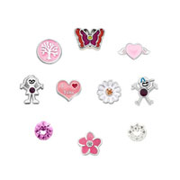 New 10 Pcs Flower Floating Charms For Glass Living Memory Lockets Necklace Bracelets