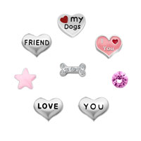 Sale New 8 Pcs I Love My Dogs Floating Charms For Glass Living Memory Lockets Necklace Bracelets