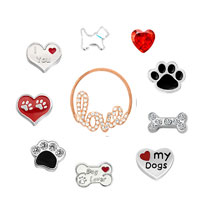 Dog Floating Charms For Glass Living Memory Lockets Necklace Bracelets