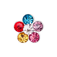 Jewelry Floating Living Locket Charms Five Color Clear Crystal Flower