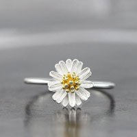 Girl S Lovely Yellow 925 Sterling Silver Cute Retro Daisy Flower Ring Size 7