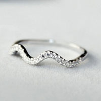 925 Sterling Silver Girl Rhinestone Crystal Wave Ring Wedding Tail Band Size 5