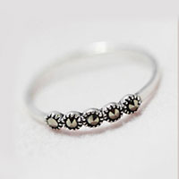 New Fashion Womens Five Point Marcasite Stone 925 Sterling Silver Rings Size 7