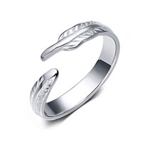 925 Sterling Silver Lady Fashion Leaf Cute Wedding Adjustable Opening Ring