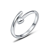 Fashion 925 Sterling Silver Permenant Love Heart Ladies Open Adjustable Ring