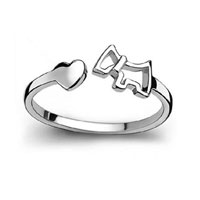 925 Sterling Silver Lovely Cute Heart Horse Opening Adjustable Knuckle Tail Ring