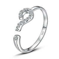 Korean New Design 925 Sterling Silver Queation Mark Crystal Opening Adjustable Ring