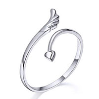 925 Sterling Silver Angel Wing Opening Cute Fashion Adjustable Ring Lady Girl