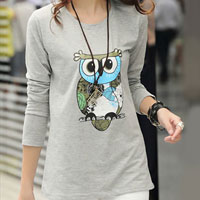 Hot Womens Cotton Causal Gray Blouse Owl Printed Long Sleeve Top T Shirt Tops Size L