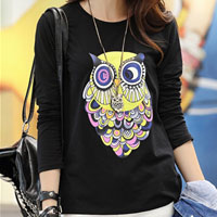 Womens Autumn Black Cotton Casual Colorful Owl Long Sleeve Top T Shirt Blouse Size M