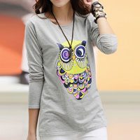 Womens Autumn Gray Cotton Casual Colorful Owl Long Sleeve Top T Shirt Blouse Size Xl