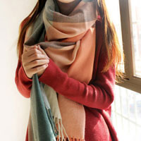 Women Fashion Pink Green Grid Long Soft Wrap Shawl Scarf Stole Classic Scarves