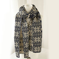 Womens Winter Blue Scarves Christmas Deer Present Two Sides Thick Scarf Wrap