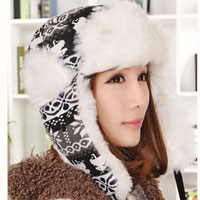 Womens Lady Camo Knit Wool White Hat Warm Winter Trooper Snow Ski Christmas Hunting Cap